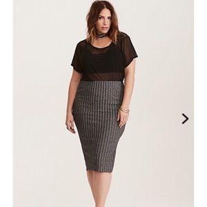 Torrid glitter ribbed pencil skirt